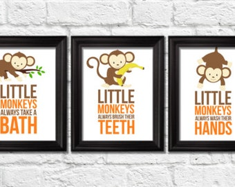 Little Monkeys Bathroom Rules, Monkeys Decor, Jungle Art Prints, Kids Wall  Art,