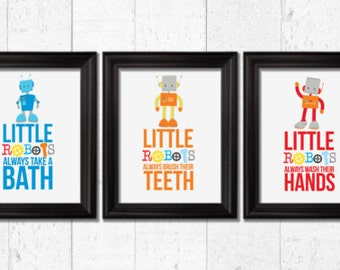 Little robots always take a bath, Kids bathroom Decor, robots decor, Kids Wall Art, Baby Decor, bathroom rules art, robots decor, BE-3026
