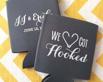 We Got Hooked wedding can coolers, fishing wedding, Fishing wedding hooks favors, fishing outdoor country wedding (200 qty)