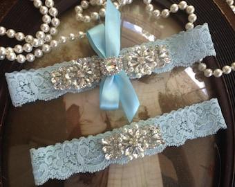 Wedding Garter-Light Blue-Ivory Lace Garter Set-Vintage-Bridal Garter-Garter Belt-Something blue-Toss Garter-Rhinestone-Pearl-Lace-Ivory