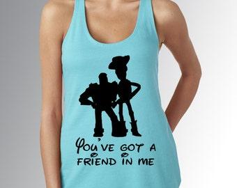 Toy Story Woody & Buzz You've Got a Friend in Me * Blue Tank Top * Jersey Top * Disney Running Shirt * RunDisney * Run Disney * Racerback