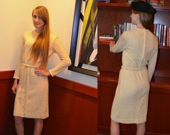 Off White Dress, Size 2, Cream Colored Dress, Vintage Dress, 60's Dress, Women's Long Sleeved Dress, Secretary, Mad Men