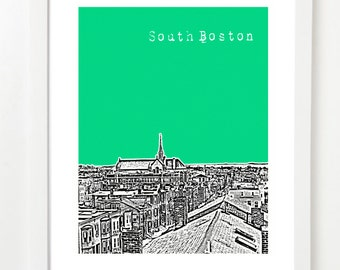 South Boston Poster -  South Boston Massachusetts City Skyline Art Print - Southie