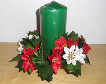 Vintage Christmas Centerpiece - Brass Candle Holder, Pillar Candle, Silk Flower Candle Ring, White and Red Poinsettia, Holiday Decor