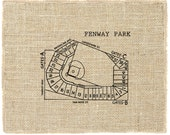 Fenway Park Unframed, Red Sox, Baseball Art, Vintage Art, Burlap