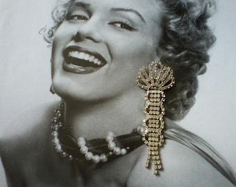 Long Rhinestone Pierced Earrings