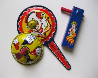 Lot of 3 Vintage Noise Makers, Clowns, Flapper