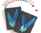 Bridge Tallies with Grey Felt Covers Blue Butterfly and Feathers (set of 8), Tally, Card Games, Cards, Card Player, Bridge, Felt Tallies