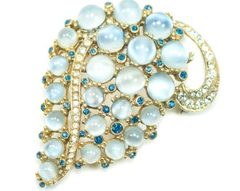 Blue Moonstone Ciner Brooch Signed Rhinestone