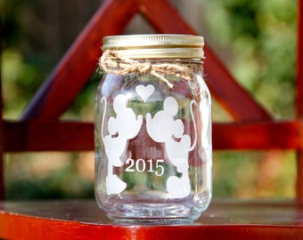 LOVE Jar, Pint SIZE, Etched Mason Jar, Customize your own