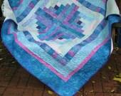 Quilt, Lap Quilt, Sofa Quilt, Quilted Throw, Batik Quilt - Sweet Treats Log Cabin Lap Quilt