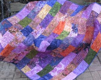 Lap Quilt, Sofa Quilt, Quilted Throw - Wild Berry Batik Lap