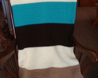 Afghan blanket, chocolate, turquoise, taupe and aran block crocheted afghan