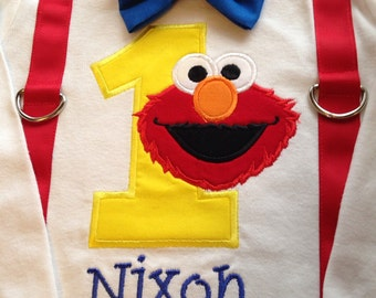 Boys sesame street elmo first birthday suspenders and bow tie  bodysuit or shirt