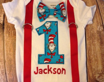 Custom Boys Dr Seuss Cat in the Hat fabric first birthday suspenders and bow tie