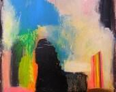 Abstract art print abstract canvas art painting original mixed media painting modern contemporary textured naive outsider raw bohemian