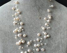Floating Necklace,Illusion Necklace,multi-strand pearl necklace,6 rowes 3-8 mm 17-20 inch white Freshwater Pearl Necklace,wedding necklace