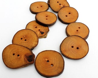Platanus / London Plane Tree Wood Buttons 12 pcs  Medium 1 1/2 inch (35-38 mm) natural handmade wooden tree branch buttons