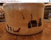 Stoneware crock with winter scenes