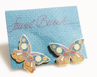 Vintage Butterfly Earrings By Laurel Burch, Enamel Earrings, Gifts Under 40, Butterfly Jewelry