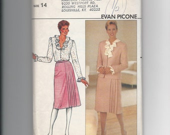 UNCUT Vintage Sewing Pattern Butterick 4778 for Jacket, Skirt and Blouse, Sz 14, 1980s