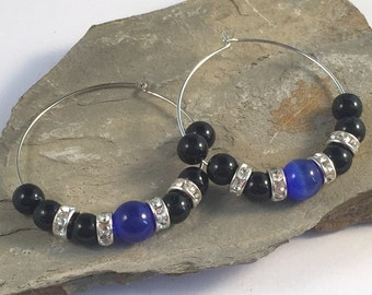 HOOP EARRINGS with Dark Blue Catseye Glass Beads and Black Acrylic Beads on Silver Tone Hoops