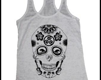 Women's Hawaii Sugar Skull Screen Printed Racerback Tank Dias De Los Muertos Hawaiian Shirt
