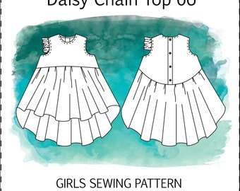 Daisy Chain Top 06 // PDF sewing pattern // girl size 3 - 10 years top gathers baby doll ruffle sleeve button back hi low swing trapeze