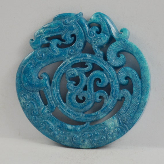 Unique antique style large carved blue jade pendant old dargon