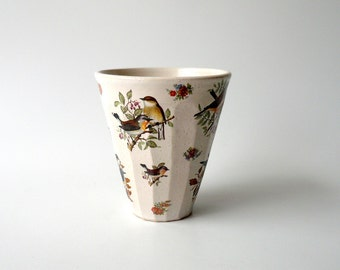 A Ceramic Cup in White with Birds and Flowers, Tumbler, Cappuccino Cup, Coffee, Tea Cup, Hand Carved by Cecilia Lind, StudioLind