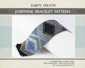 Peyote Bracelet Pattern - JOSEPHINE Bracelet in Black, Blue and Silver - Digital Download