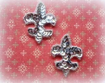 Fleur De Lis Sequin Applique, Silver, x 2, For Bridal, Apparel, Accessories, Costumes, Mixed Media, Romantic Crafts