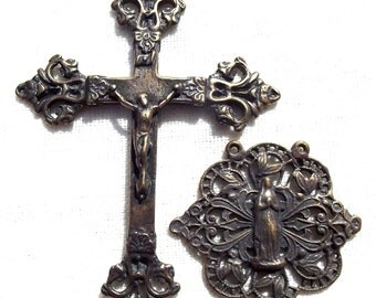 Rosary Set with Victorian Crucifix and Our Lady Lourdes Center Centerpiece Catholic Supply Part VP924/1140