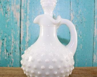 Hobnail Perfume Bottle, Avon Bath Oil,  Milk Glass, Wedding, Centerpiece, Shabby Chic, Rustic, shower, Mid Century, Wedding, collectible