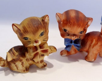 Pair of Ceramic Kittens with Bows and Butterflies