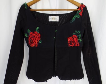 80s La Dolce Vida Rose mesh corset top/ La Difference of Monte Carlo/ made in Italy: size 42 = US 8-10