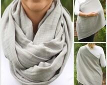 SUMMER SALE! Slate Gray 100% Cotton Muslin Gauze Hold Me Close Nursing Scarf - Nursing Cover - Infinity Nursing Scarf - Nursing Poncho