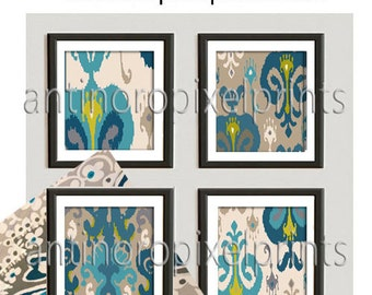Teals, Turquoise, Lime, Khaki Damask Ikat Art Collection - Set of (4) - 10 x 10 Prints - (UNFRAMED) Custom Colors Available #218124670