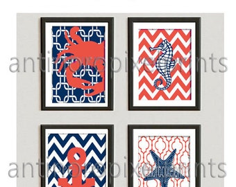 Crab Seahorse Starfish Beach House Prints Navy Blue Coral White Wall Art Modern Inspired -Set of (4) -5x7 Prints (UNFRAMED) 170654949