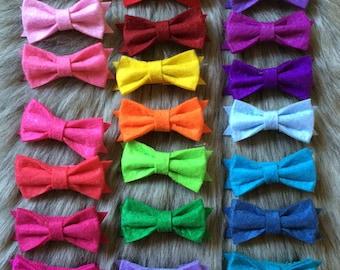 Felt hair bow clippies - bows Clippies