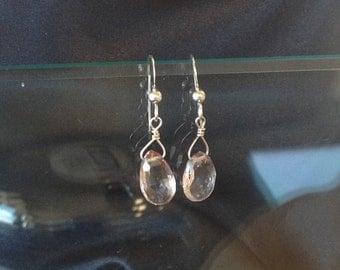 Rose Crystal Quartz Briolette Earrings