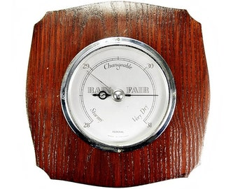 Vintage 1940s English Post War Rich Oak Wooden Wall Barometer from Federal
