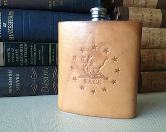 English Leather Flask Stainless Steel Hip Flask 6 oz