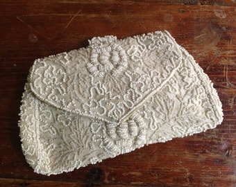 Antique French White Beaded Wristlet Clutch Dress Seed Bag Purse Wallet Wedding Bridal