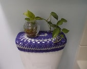 Crochet Toilet Tank Lid Cover or Crochet Toilet Seat Cover - eggplant/light grey (TTL7D or TSC7D)