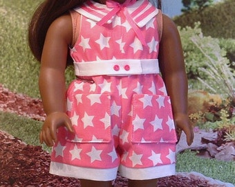 Pink and White Stars Summer Romper and Hat for American Girl Dolls
