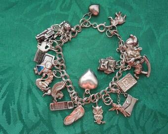 Vintage Silver Charm Bracelet with 20 Charms, Mostly Silver, 1 Gold, Bracelet Stamped 925