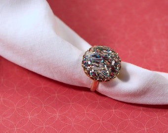 Sarah Coventry gold tone Confetti Ring -  vintage 1959