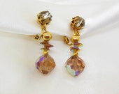 Designer Vintage Crystal Earrings Dangle Amber Brown Aroura Borealis