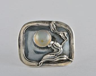 Austro Hungarian Art Nouveau moonstone rare large silver brooch